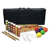 Juegos de la calzada Set de croquet portátil. Mazos, bolas y bolsa de madera. Juego de croquetas de jardín al aire libre para niños y adultos