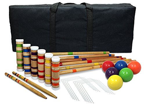 (Driveway Games Portable Croquet Set.Wood Mallets, Balls, & Bag. Outdoor Backyard Lawn Croquette Game for Kids &  Adults)
