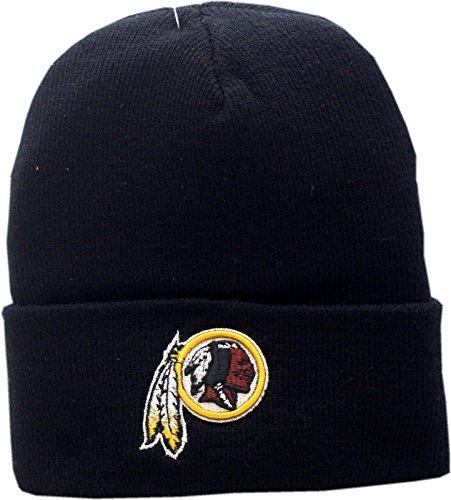ington Redskins Black Knit Hat Cuffed Logo Block (Logo Knit Cap)