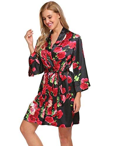 Aimado Women's Short Kimono Floral Wrap Sleepwear Belt Bridesmaid Robes (Black, Small)