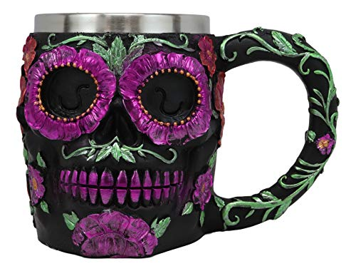 Ebros Gothic Black Red Pink Green Day of The Dead Sugar Skull Mug 12 Oz Art Skulls Silhouette In Bright Floral Colors Drink Safe Novelty Coffee Cup As Halloween Haunted Theme Party Decor Ice Breaker