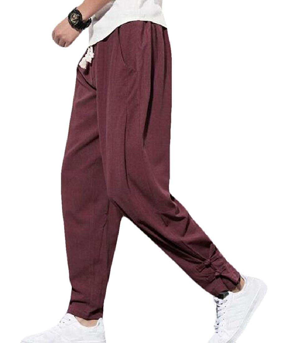 CRYYU Men Pockets Cotton Linen Chinese Style Solid Big /& Tall Harem Jogger Pants