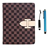 Cellular360 Classic Hand Grip/Stand Case for Apple iPad Mini 3 iPad Mini 2 (Retina iPad Mini) and iPad Mini - with Credit Card Slot & Two Free Stylus (Classic Hand Grip Stand Case - Brown LV Check)