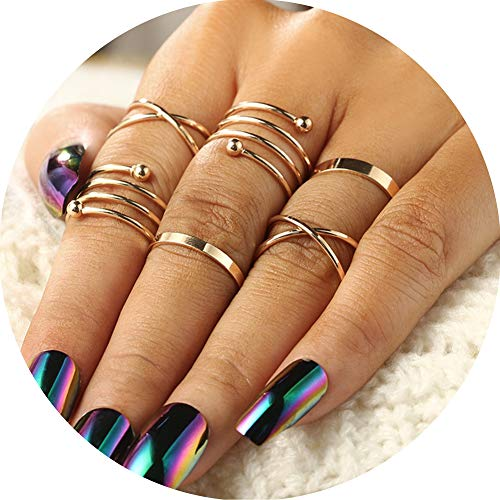 Coucouland 6pcs Stack Rings Leaf V Rhinestone Joint Rings Knuckle Nail Ring Set (Gold-2)
