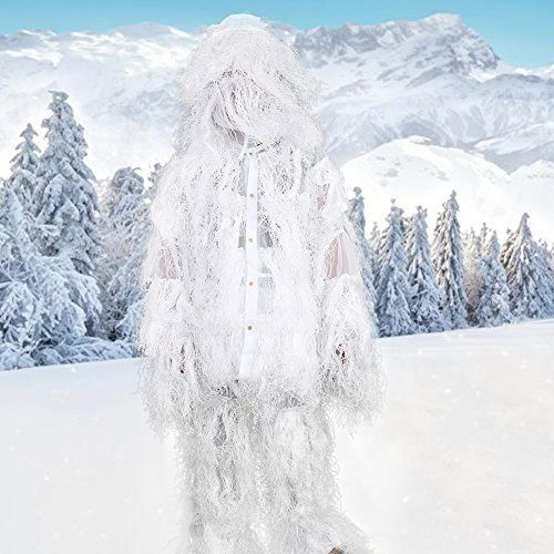 Vbestlife Ghillie Suits Camo Suits Woodland Camouflage Hunting Clothing Birdwatching Clothes Snowfiled Birding Suit for Wildlife Photography Jungle Hunting Halloween (White)