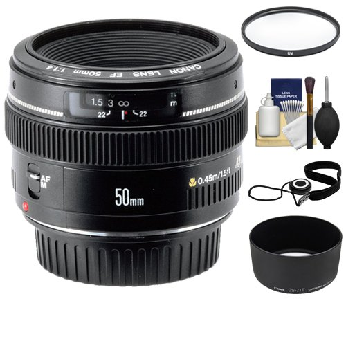 Canon EF 50mm f/1.4 USM Lens + UV Filter + ES-71II Hood + Accessory Kit for Canon EOS 60D, 7D, 5D Mark II III, Rebel T3, T3i, T4i Digital SLR Cameras