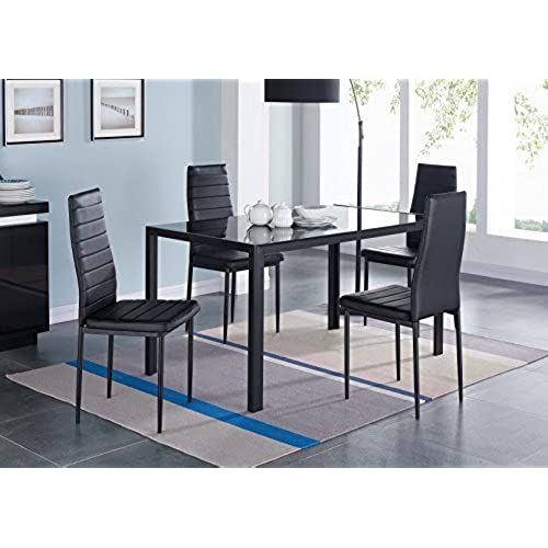 IDS 5 Piece Compact Dining Table Room Set for 4 With Glass Top and Soft Faux Leather Chairs Dinette - Rectangular Black  sc 1 st  Amazon.com & 5 Piece Dining Room Sets: Amazon.com