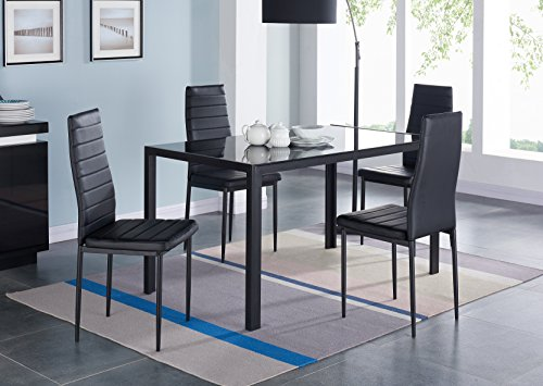 (IDS 5 Piece Compact Dining Table Room Set for 4 with Glass Top and Soft Faux Leather Chairs Dinette - Rectangular Black )