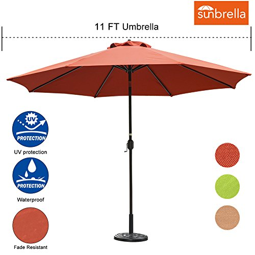 Sundale Outdoor 11 Ft Sunbrella Canopy Patio Market Umbrella Garden Outdoor Aluminum Umbrella with Crank and Push Button Tilt,Terracotta (Patio Umbrellas Fabric Sunbrella)