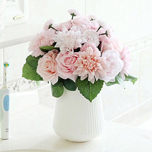 Bringsine Bridal Wedding Bouquet Flower Arrangement Home Decorative Flowers Real Touch Silk Artificial Flowers- Rose, Daisy, Dahlia, Wedding Decoration, Flowers Bunch Hotel Party Garden Floral (Arrangement Bouquet)