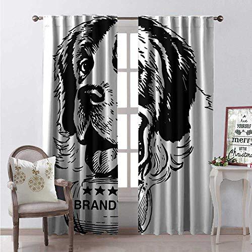 Hengshu Man Cave Blackout Window Curtain Sketch of Saint Bernard Rolling a Keg of Brandy Whiskey Stars Retro Customized Curtains W96 x L96 Black and White