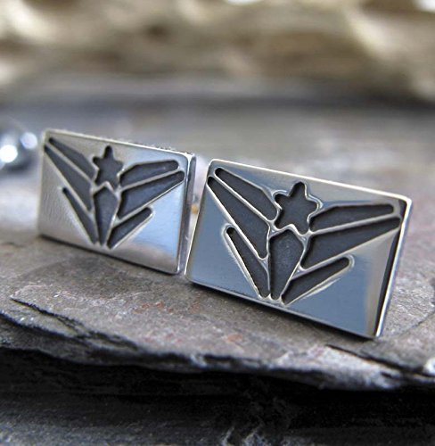 Military Stud - Navy USN Military jewelry sterling silver post stud earrings. Handmade in the USA.