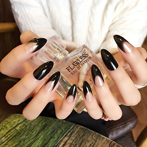 Super Long Pointed Fake Nails Black Glitter Pre-designed Bent Acrylic French Nails for Lady Decoration