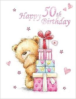 """Ladies Cute Bear at Garden Gate /"""" 50th/"""" Birthday Card"""
