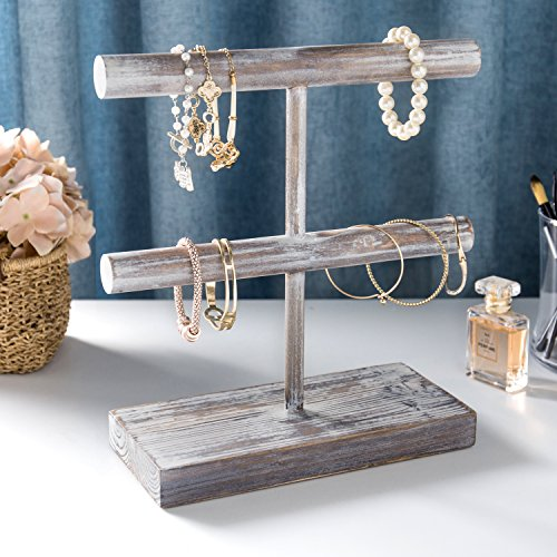 MyGift Rustic 2-Tier Torched Wood T-Bar Jewelry Display Rack, Bracelet & Watch Organizer by MyGift (Image #1)