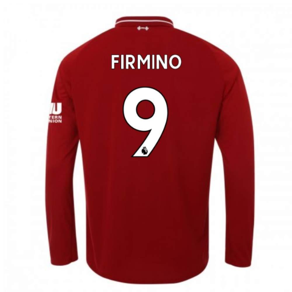 2018-2019 Liverpool Home Long Sleeve Football Soccer T-Shirt Trikot (Roberto Firmino 9)