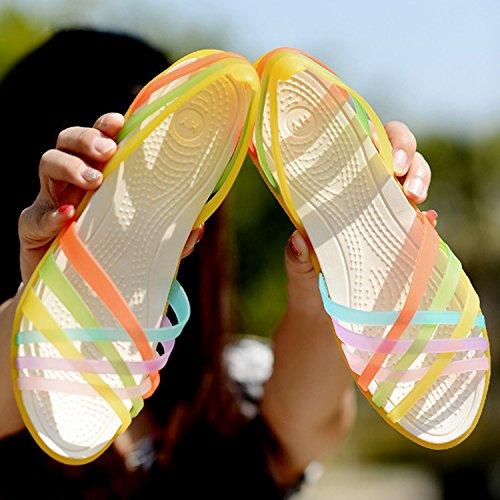 Mujer Azbro on Gelatina Multicolores Correas Sandalias Planas Fucsia con de Slip aCS6w