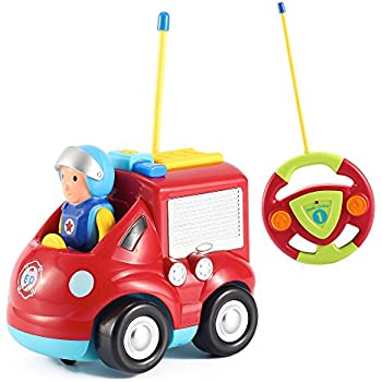 Cartoon R/C Fire Truck Toys for Toddlers - Radio Control Fire Engine Toy Truck by Liberty Imports (ENGLISH Packaging)