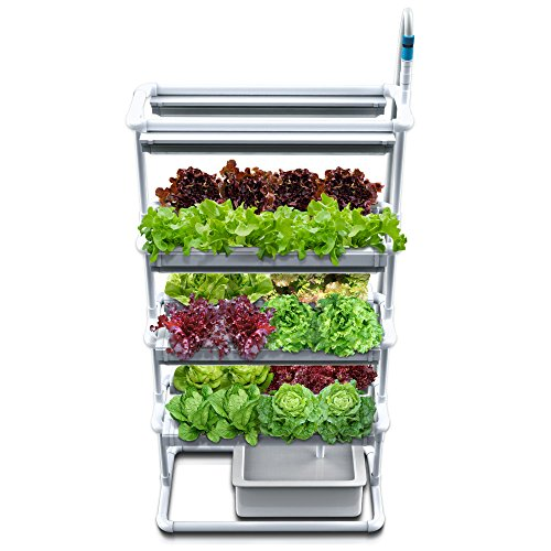 $359.99 Hydroponics Kits Vertical NFT Hydroponics Growing System – Full Hydroponic Kit for Indoor-Garden Soilless Planting – Grow Family-Safe Veg, Herbs and Salads Fast – 6 LED Grow Light, Timer, Pump, Reservoir with 24 Pods 2019