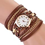 Hindom Women Rhinestone Braided Winding Strap Bracelet Sling Chain Quartz Wrist Watch
