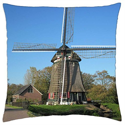 Uwwrticm Mill Edam Netherlands - Throw Pillow Cover Case 18 x 18 Inch