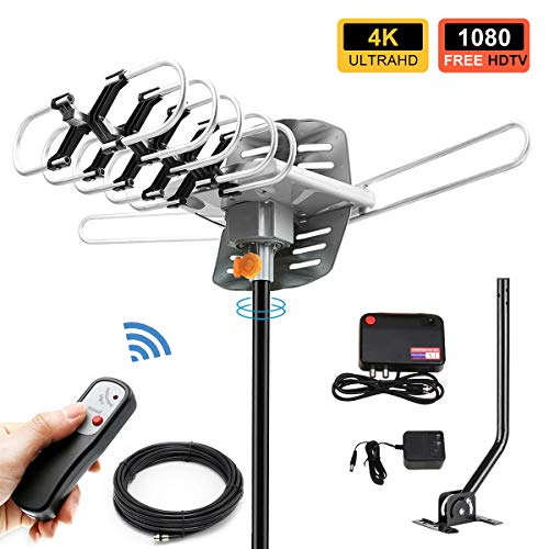 (TV Antenna -Outdoor Amplified HDTV Antenna 150 Mile Motorized with Adjustable Antenna Mount Pole for 2 TVs Support - UHF/VHF 4K 1080P Channels Wireless Remote Control - 33FT Coax Cable)