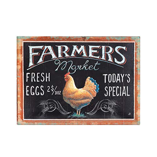 (Creative Co-op Embossed Tin Farmers Market Wall Decor with Rooster)