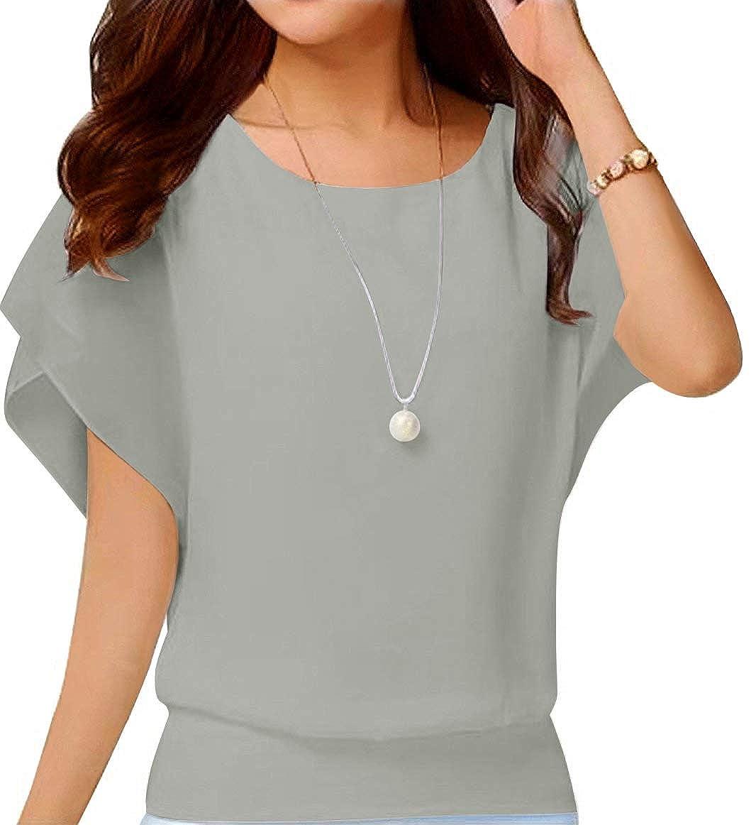 Neineiwu Womens Loose Casual Short Sleeve Chiffon Top T-Shirt Blouse