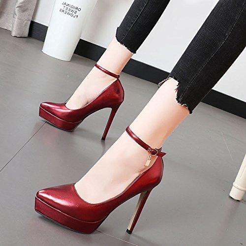 Xue Qiqi Taladro de agua corbata ranurada con solo zapatos con la punta fina de la luz del alto-heel shoes El Morado