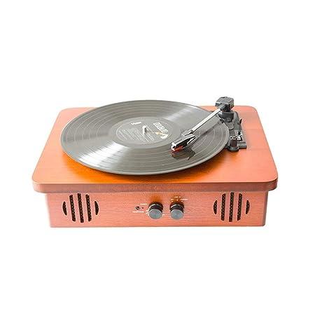 Caja de madera plana Giradiscos portátil Máquina grabadora Vinilo ...