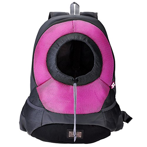 Mangostyle Pet Dog Cat Carrier Front Pack Backpack Mesh Portable Outdoor Travel Dog Pouch Carrier Bag Head out Carrier Adjustable Padded Shoulder Strap Hands Free with Pockets