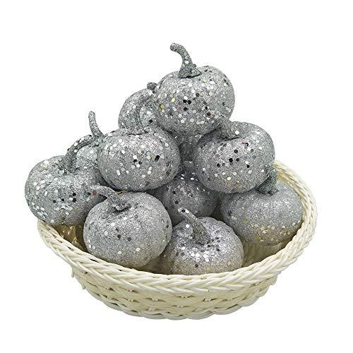 (wgg Fake Fruit Mini Simulation Pumpkin Ornaments Pumpkins for Christmas Halloween Weddings Thanksgiving Table Decoration, 12Pcs)