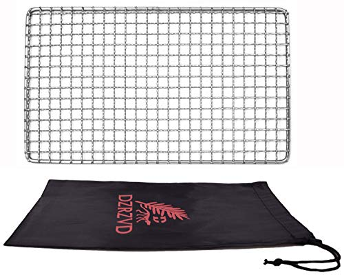 DZRZVD-The Bushcraft Backpacker's Grill Grate-Welded Stainless Steel Mesh (Upgrade Camping Fire Rated)-7.48″X12.6″