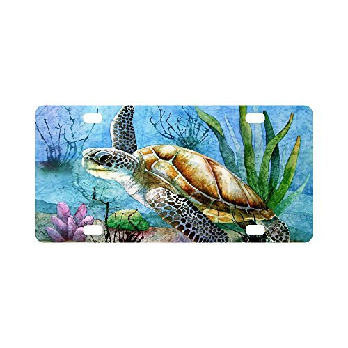 Sea Turtle Painting Aluminum Car Metal License Plate for Car Four Holes Car Tag 12