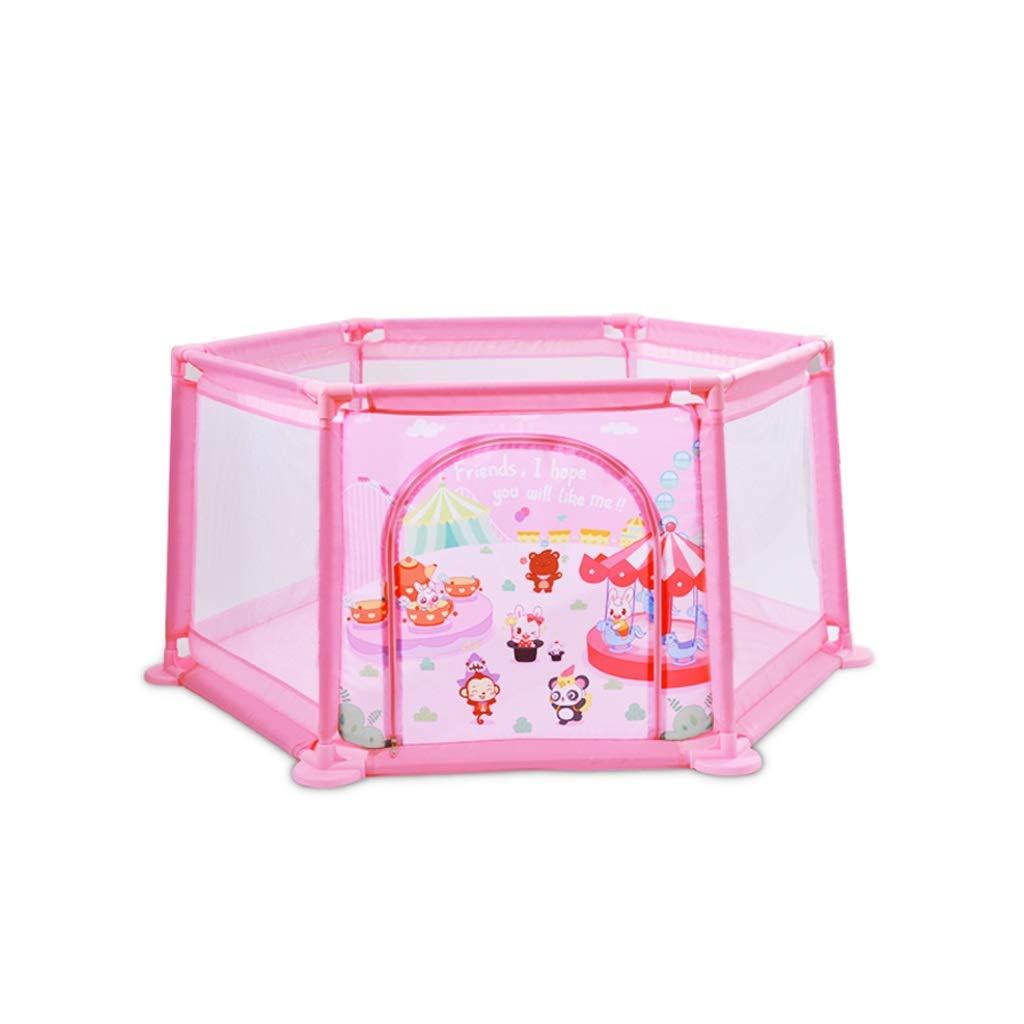 DBSCD ベビーフェンスベビープレイフェンスフェンス▏幼児子供屋内プレイフェンス▏赤ちゃん幼児クロールマット強くて耐久性のある/から作られた(色:ピンク)  Pink B07V9FDL8R