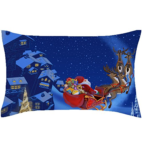 PaigeHamelf Merry Christmas Pillow Case Christmas tree new year snow town Reindeer Merry Christmas Home Decor Design Throw Pillow Cover 13 x 21 Inch