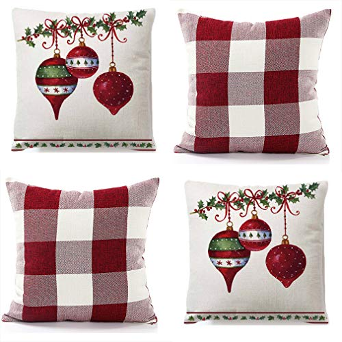 "RJUP Christmas Throw Pillow Covers 18x18 Inch Red White Buffalo Check Plaid and X-mas Decorations Bells Cushion Case Cotton Linen Farmhouse Decorative for Sofa, Set of 4 (C, 18""X18"",4 PCS)"
