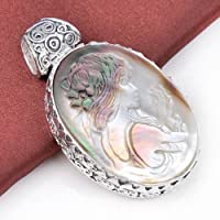 Siam panva Valentine Natural Carved Cameo Shell Gemstone Vintage Silver Necklace Pendant