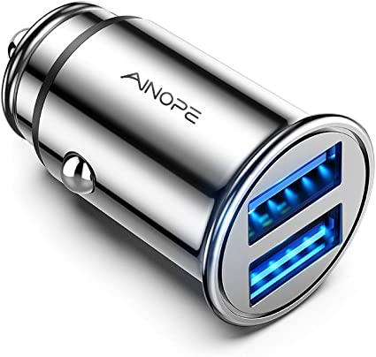 AINOPE Car Charger, 4.8A All Metal Car Charger Adapter Dual USB Port Fast Car Charging Mini Flush Fit Compatible with iPhone Xs max/XR/x/7/6s, iPad ...