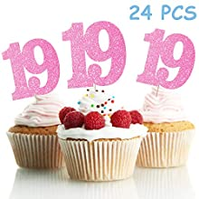 LINGPAR 19 Years Old Pink Cake Toppers Happy 19th Birthday Cupcake Toppers Nineteen Birthday Party Decoration Supplies 24PCS