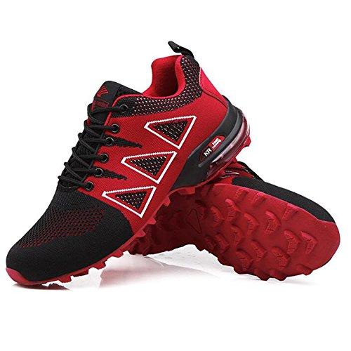 Chaussures De Course De Trail Femmes Sports Fitness Sneakers Confortable Anti-Slip Légère Chaussures De Plein Air Sneakers Hommes Chaussures De Marche Red E87RJ