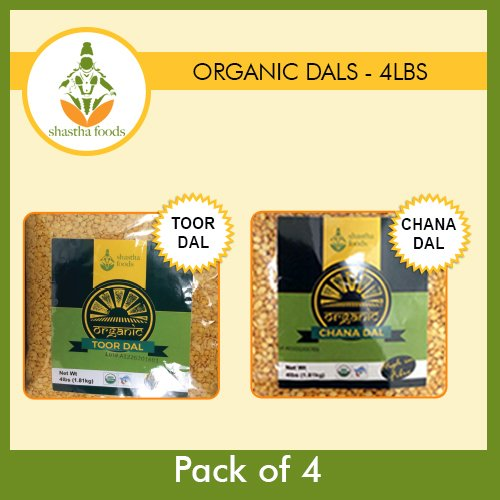 Shastha Organic Dal (Combo Pack of 4) Chana & Toor Dal (USDA Certified Organic) Each Pkt 4 Lbs by Shastha Foods
