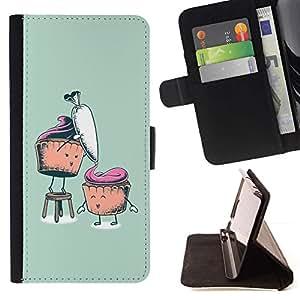 Momo Phone Case / Flip Funda de Cuero Case Cover - Zanahoria Muffin saludable Azúcar Alimentos Arte Dibujo - Sony Xperia Z1 L39
