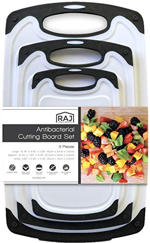 Raj Plastic Cutting Board Reversible Cutting board, Dishwasher Safe, Chopping Boards, Juice Groove, Large Handle, Non-Slip, BPA Free, FDA Approved (3 Piece Set, White/Black)