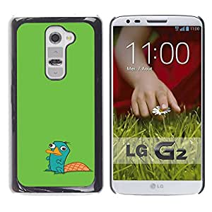LASTONE PHONE CASE / Slim Protector Hard Shell Cover Case for LG G2 D800 D802 D802TA D803 VS980 LS980 / Cool Beaver Green Cute Drawing Character Kids