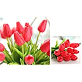 Honeyhome 12pcs Mini Tulip Milky Red Artificial Flower Wedding Bouquet Real Touch For Wedding Christmas Home Decorition