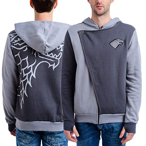 HBO'S Game of Thrones Mens Stark Zip Hoodie