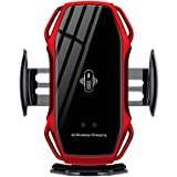 NOYMI Wireless Car Mobile Holder, Auto-Clamping Qi Fast Charging Phone Charger in Car Air Vent Compatible with IP X/XR/Xs/Xs Max/8/8 Plus, Samsung S6/S7/S8/S9 Edge+, Note 7/Note 8 (Red-1)