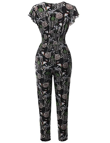 Made by Emma Womens Casual Solid Floral Tube Top Strapless Stretchable Long Wide Jumpsuit