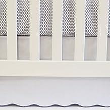 Oliver B White Crib Skirt with Navy Scallop Trim